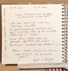 Gastenboek Ronald McDonald huis Den Haag